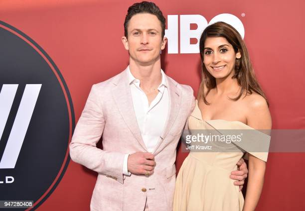 Jonathan Tucker and Tara Ahamed Tucker attend the Los Angeles Season 2 premiere of the HBO Drama Series WESTWORLD at The Cinerama Dome on April 16...