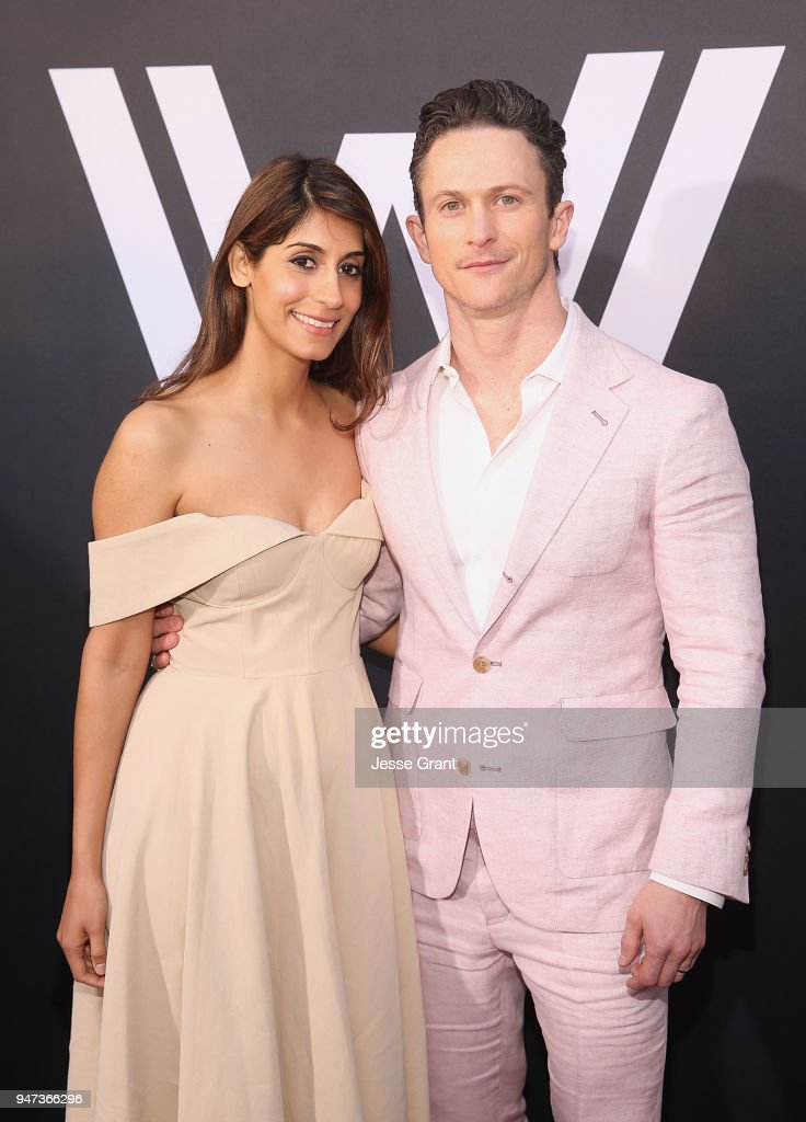 Jonathan Tucker (R) and Tara Ahamed Tucker attend the Premiere of HBO's 'Westworld' Season 2 at The Cinerama Dome on April 16, 2018 in Los Angeles, California.