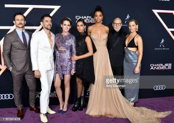 Jonathan Tucker, Luis Gerardo Mendez, Kristen Stewart, Naomi Scott, Ella Balinska, Patrick Stewart, and Elizabeth Banks attend the premiere of...