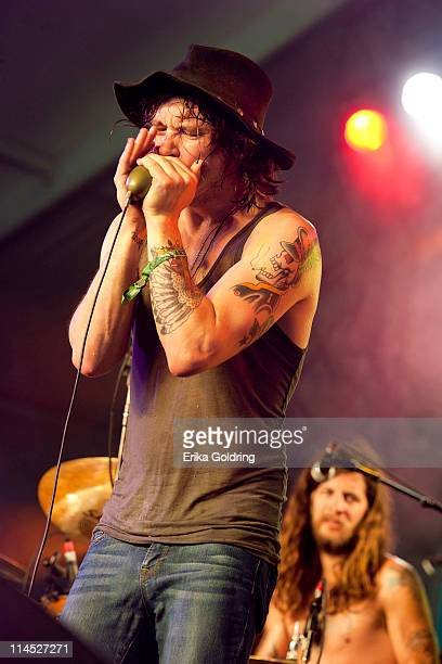 Jonathan Tyler and Jordan Cain of Jonathan Tyler & Northern Lights perform during the 2011 Hangout Music Festival on May 22, 2011 in Gulf Shores,...
