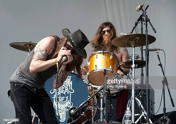 Jonathan Tyler and Jordan Cain of Jonathan Tyler & The Northern Lights perform at the 2010 Voodoo Experience on October 31, 2010 in New Orleans,...