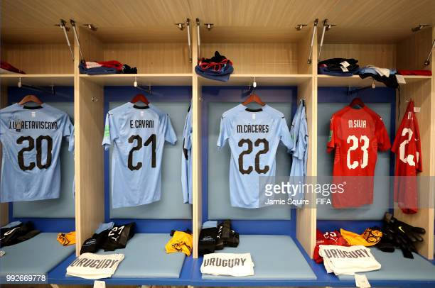 Jonathan Urretaviscaya Edinson Cavani Martin Caceres and Martin Silva's shirts hang inside the Uruguay dressing room prior to the 2018 FIFA World Cup...