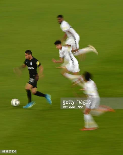 Jonathan Urretaviscaya of Pachuca in action during the FIFA Club World Cup UAE 2017 third place match between Al Jazira and CF Pachuca at Zayed...