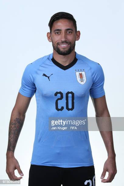 Jonathan Urretaviscaya of Uruguay poses for a portrait during the official FIFA World Cup 2018 portrait session at Borsky Sport Centre on June 12...