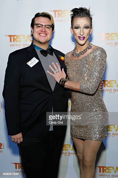 Jonathan Valdez and Marti Gould Cummings attend Trevor Gen's 2014 Trevor Project Fall Fete at Marquee on November 14 2014 in New York City
