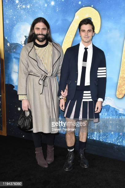 """Jonathan Van Ness and Antoni Porowski attend the world premiere of """"Cats"""" at Alice Tully Hall, Lincoln Center on December 16, 2019 in New York City."""