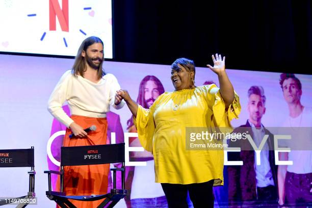 """Jonathan Van Ness and Tammye Hicks speak onstage during the Netflix FYSEE """"Queer Eye"""" panel and reception at Raleigh Studios on May 16, 2019 in Los..."""