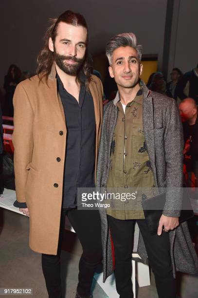 Jonathan Van Ness and Tan France attend the Vivienne Tam front row during New York Fashion Week The Shows at Gallery I at Spring Studios on February...