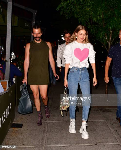 Jonathan Van Ness Antoni Porowski and Gigi Hadid arrive to Cookshop on June 19 2018 in New York City