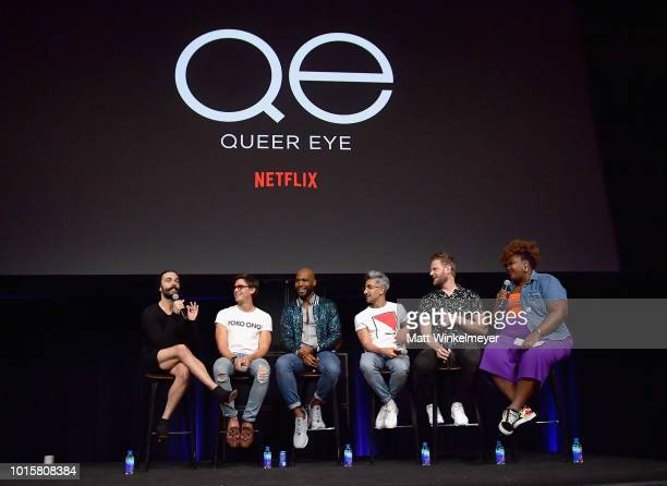 Jonathan Van Ness Antoni Porowski Karamo Brown Tan France Bobby Berk and Nicole Byer speak onstage during Netflix's Queer Eye and GLSEN event at...