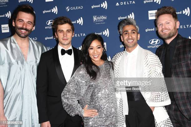 Jonathan Van Ness Antoni Porowski Michelle Kwan Tan France and Bobby Berk attend the 30th Annual GLAAD Media Awards at The Beverly Hilton Hotel on...