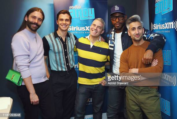 Jonathan Van Ness Antoni Porowski SiriusXM host Andy Cohen Karamo Brown and Tan France pose for photos during a visit to SiriusXM's 'Radio Andy' at...
