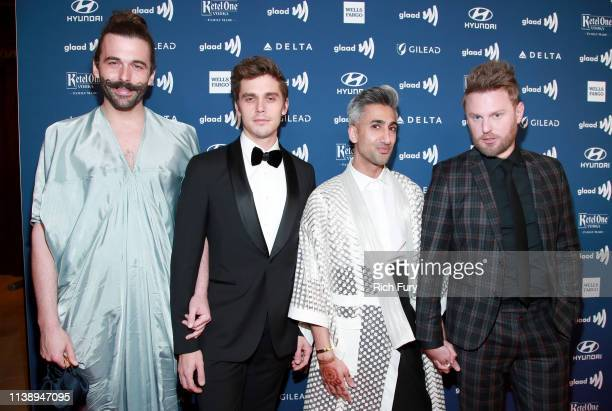 Jonathan Van Ness, Antoni Porowski, Tan France, and Bobby Berk attend the 30th Annual GLAAD Media Awards Los Angeles at The Beverly Hilton Hotel on...