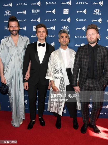 Jonathan Van Ness Antoni Porowski Tan France and Bobby Berk attend the 30th Annual GLAAD Media Awards at The Beverly Hilton Hotel on March 28 2019 in...