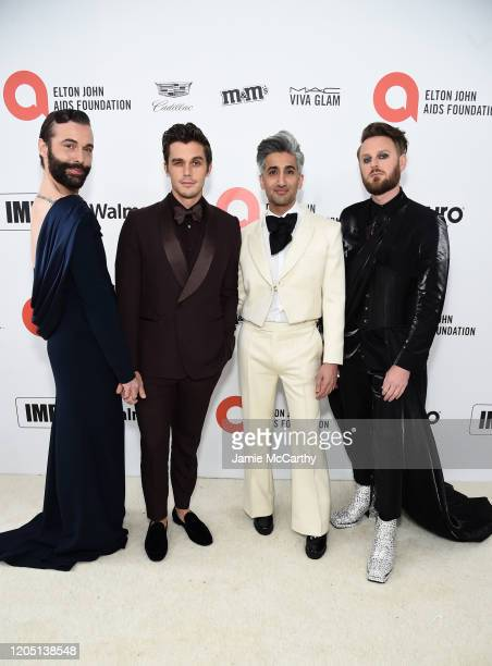 Jonathan Van Ness Antoni Porowski Tan France and Bobby Berk attend the 28th Annual Elton John AIDS Foundation Academy Awards Viewing Party sponsored...