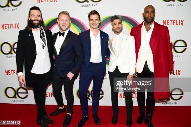 Jonathan Van Ness Bobby Berk Antoni Porowski Tan France and Karamo Brown attend the premiere of Netflix's 'Queer Eye' Season 1 at Pacific Design...