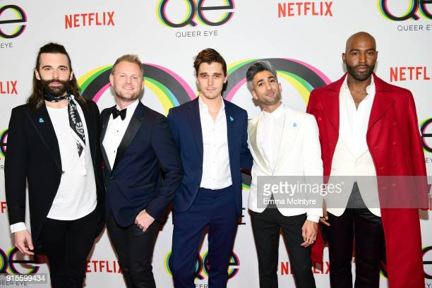 Jonathan Van Ness Bobby Berk Antoni Porowski Tan France and Karamo Brown attend the premiere of Netflix's Queer Eye Season 1 at Pacific Design Center...
