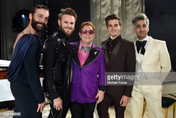 Jonathan Van Ness, Bobby Berk, Sir Elton John, Antoni Porowski and Tan France attend the 28th Annual Elton John AIDS Foundation Academy Awards...