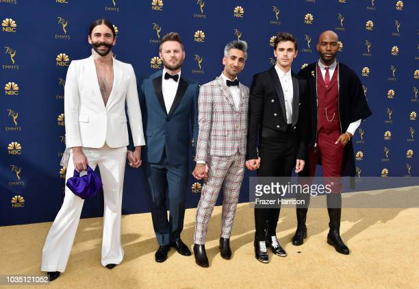 Jonathan Van Ness Bobby Berk Tan France Antoni Porowski and Karamo Brown attend the 70th Emmy Awards at Microsoft Theater on September 17 2018 in Los...