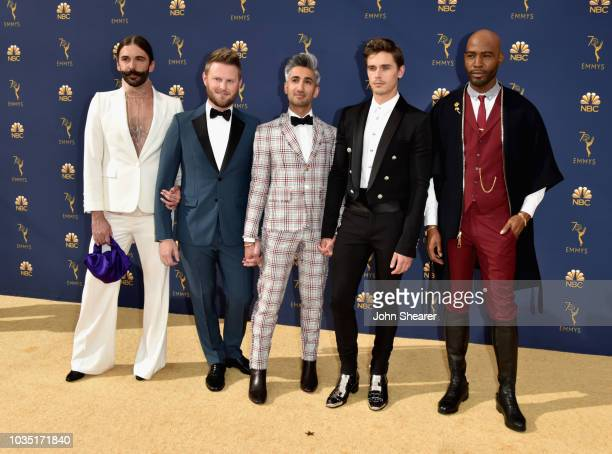 Jonathan Van Ness, Bobby Berk, Tan France, Antoni Porowski, and Karamo Brown attend the 70th Emmy Awards at Microsoft Theater on September 17, 2018...