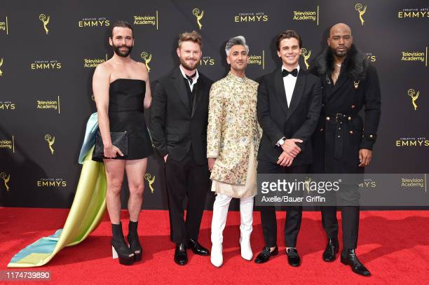 Jonathan Van Ness, Bobby Berk, Tan France, Antoni Porowski and Karamo Brown attend the 2019 Creative Arts Emmy Awards on September 14, 2019 in Los...