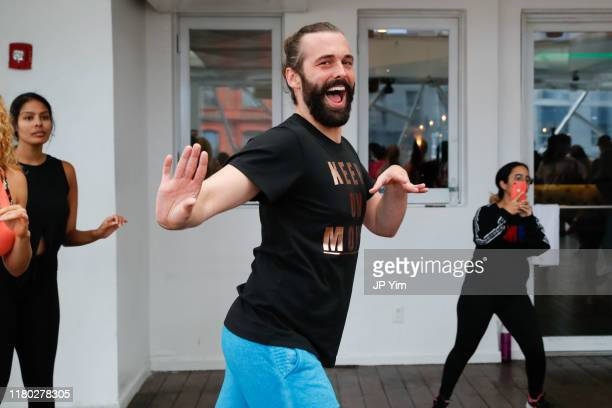 Jonathan Van Ness crashes a Zumba class at Jonathan Van Ness Joins Forces with Zumba Fitness on World Mental Health Day at Copacabana on October 10...