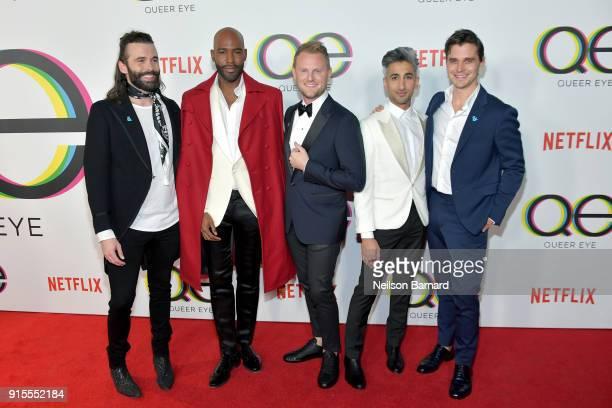Jonathan Van Ness Karamo Brown Bobby Berk Tan France and Antoni Porowski attend the premiere of Netflix's 'Queer Eye' Season 1 at Pacific Design...