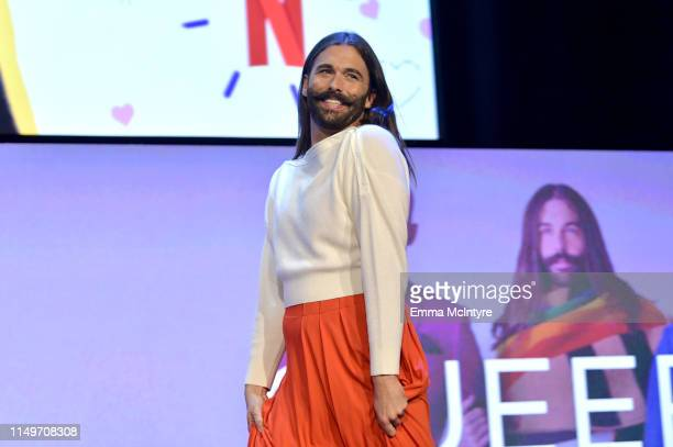 Jonathan Van Ness speaks onstage during the Netflix FYSEE Queer Eye panel and reception at Raleigh Studios on May 16 2019 in Los Angeles California