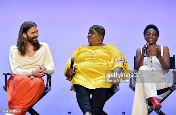 """Jonathan Van Ness, Tammye Hicks, and Jess Guilbeaux speak onstage during the Netflix FYSEE """"Queer Eye"""" panel and reception at Raleigh Studios on May..."""