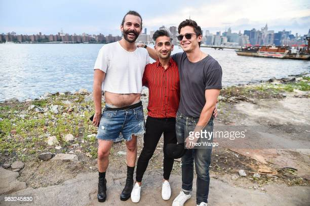 Jonathan Van Ness Tan France and Antoni Porowski of Queer Eye attend a Spotify Premium intimate event with Florence The Machine on June 24 2018 in...