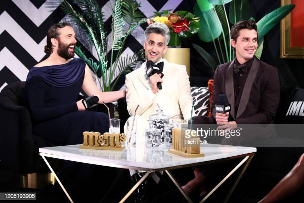 Jonathan Van Ness Tan France and Antoni Porowski speak on stage at IMDb LIVE Presented By MM'S At The Elton John AIDS Foundation Academy Awards...