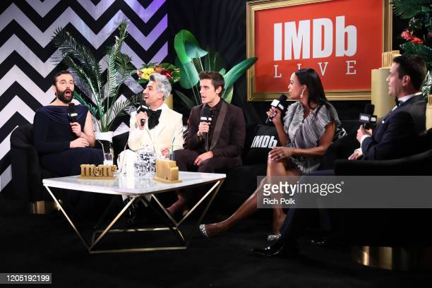 Jonathan Van Ness Tan France Antoni Porowski and Aisha Tyler speak on stage IMDb LIVE Presented By MM'S At The Elton John AIDS Foundation Academy...