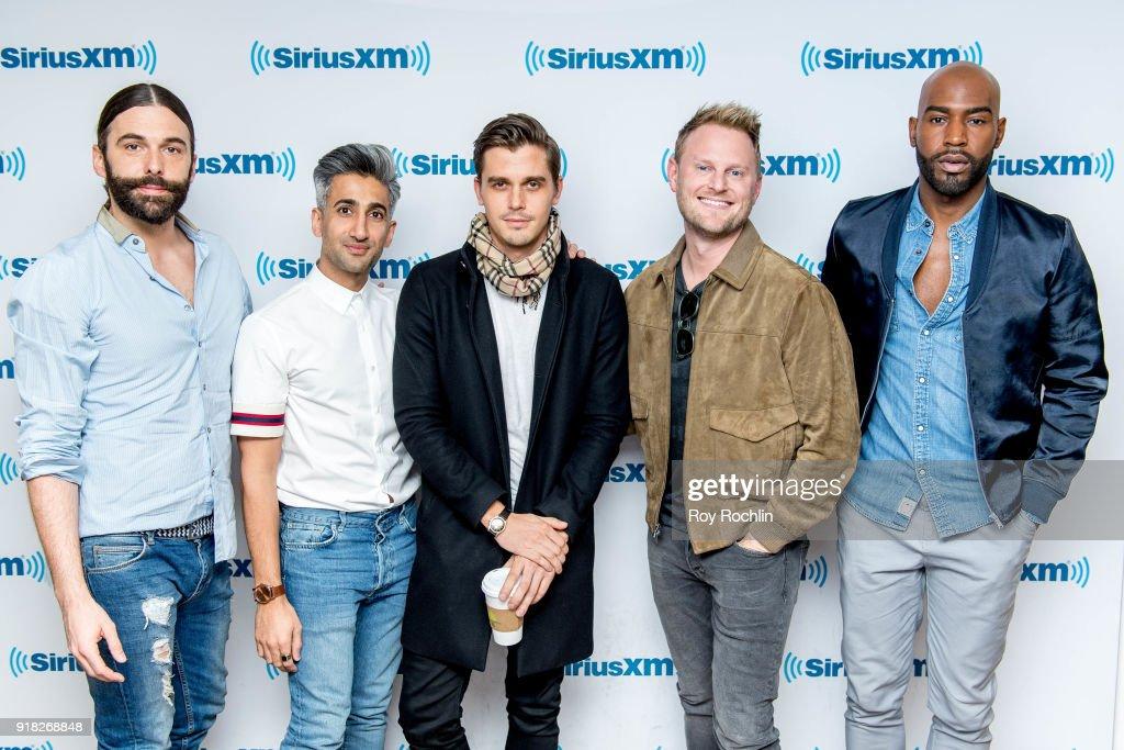Jonathan Van Ness, Tan France, Antoni Porowski, Bobby Berk and Karamo Brown visit SiriusXM to talk about the 'Queer Eye for the Straight Guy' reboot at SiriusXM Studios on February 14, 2018 in New York City.