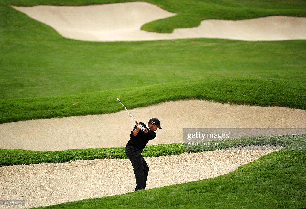 Jonathan Vegas of Venezuela makes a shot out of a bunker on the second hole during round two of the Frys.com Open at the CordeValle Golf Club on October 12, 2012 in San Martin, California.