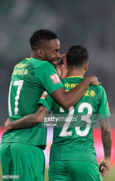Jonathan Viera of Beijing Guoan celebrates scoring his team's goal with Bakambu of Beijing Guoan during 2018 China Super League match between Beijing...
