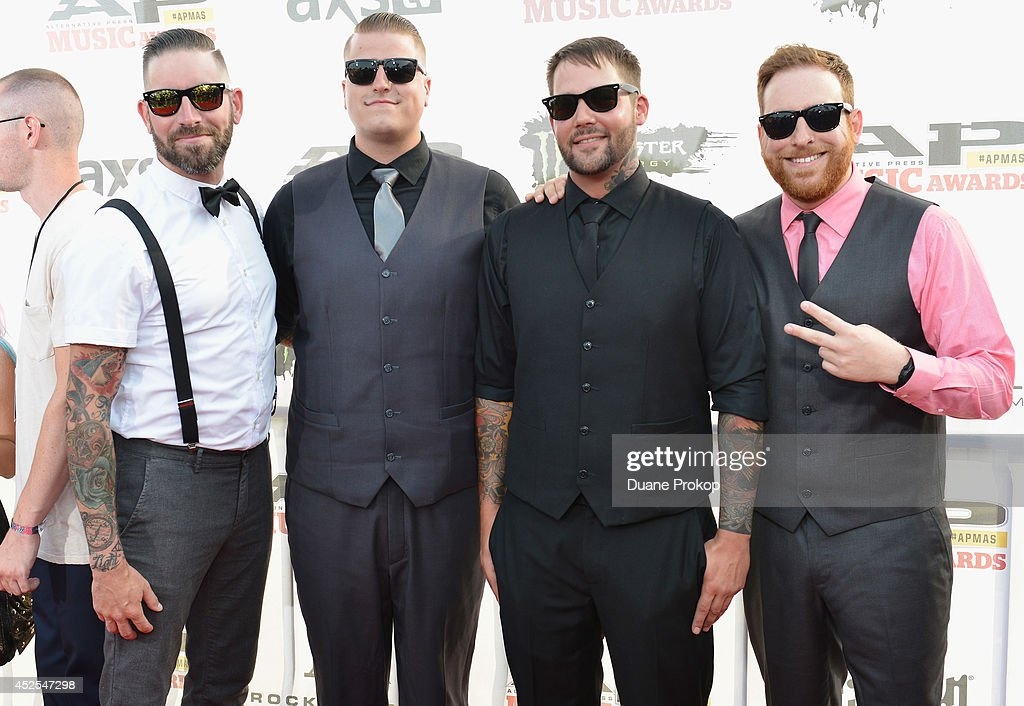 Jonathan Vigil, Andrew Tkaczyk, Jim Riley and Aaron Brooks of The Ghost Inside attend the 2014 Gibson Brands AP Music Awards at the Rock and Roll Hall of Fame and Museum on July 21, 2014 in Cleveland, Ohio.
