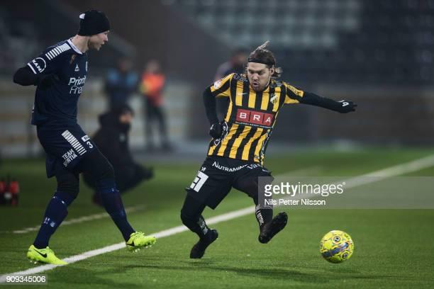 Jonathan Viker of Utsiktens BK and Karl Bohm of BK Hacken competes for the ball during the preseason friendly match between BK Hacken and Utsiktens...