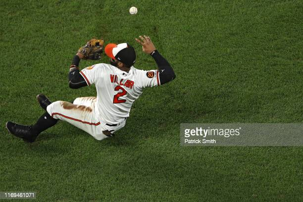 Jonathan Villar of the Baltimore Orioles cannot make a play on a hit by Nicky Lopez of the Kansas City Royals during the fourth inning at Oriole Park...