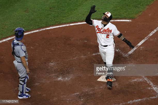 Jonathan Villar of the Baltimore Orioles celebrates his three run home run against the Los Angeles Dodgers during the seventh inning at Oriole Park...