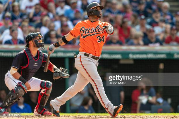 Jonathan Villar of the Baltimore Orioles hits a three run home run during the third inning against the Cleveland Indians at Progressive Field on...