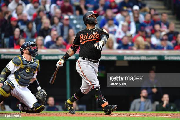 Jonathan Villar of the Baltimore Orioles hits a three run home run during the third inning against the Cleveland Indians at Progressive Field on May...