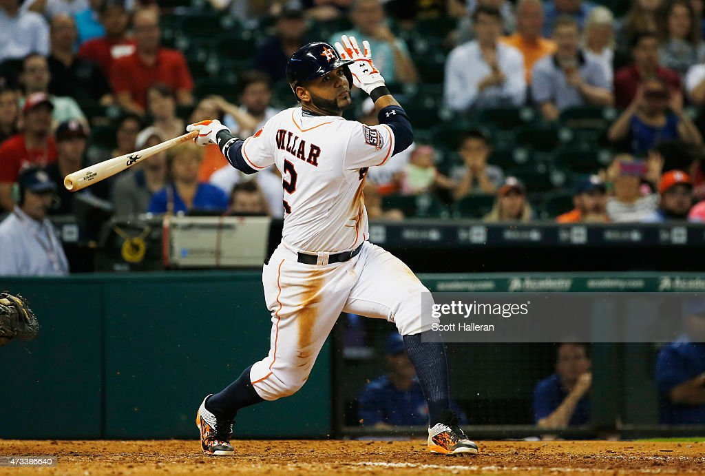 Jonathan Villar #2 of the Houston Astros hits a two-run double against the Toronto Blue Jays in the seventh inning of their game at Minute Maid Park on May 14, 2015 in Houston, Texas.