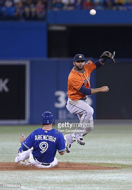 Jonathan Villar of the Houston Astros turns a double play in the second inning during MLB game action as JP Arencibia of the Toronto Blue Jays slides...