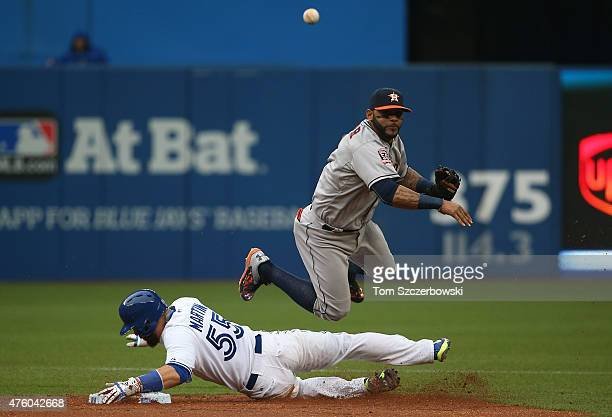 Jonathan Villar of the Houston Astros turns a double play in the second inning during MLB game action as Russell Martin of the Toronto Blue Jays...