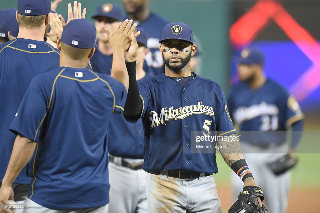 Jonathan Villar #5 of the Milwaukee Brewers celebrates a win after a baseball game against the Washington Nationals at Nationals Park on July 5, 2016 in Washington, DC. The Brewers won 5-2.
