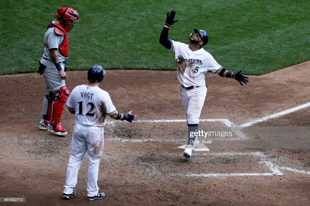 Jonathan Villar #5 of the Milwaukee Brewers celebrates after hitting a home run in the sixth inning against the St. Louis Cardinals at Miller Park on August 30, 2017 in Milwaukee, Wisconsin.