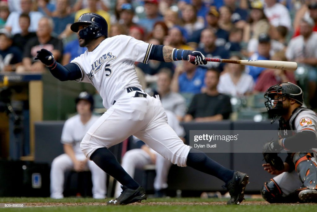 Jonathan Villar #5 of the Milwaukee Brewers hits a double in the fifth inning against the Baltimore Orioles at Miller Park on July 5, 2017 in Milwaukee, Wisconsin.