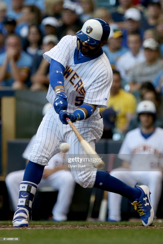 Jonathan Villar #5 of the Milwaukee Brewers hits a single in the second inning against the Philadelphia Phillies at Miller Park on July 14, 2017 in Milwaukee, Wisconsin.