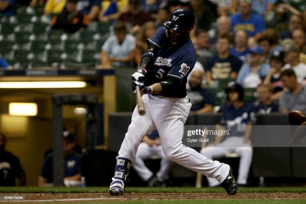 Jonathan Villar #5 of the Milwaukee Brewers hits a single in the seventh inning against the Minnesota Twins at Miller Park on August 10, 2017 in Milwaukee, Wisconsin.