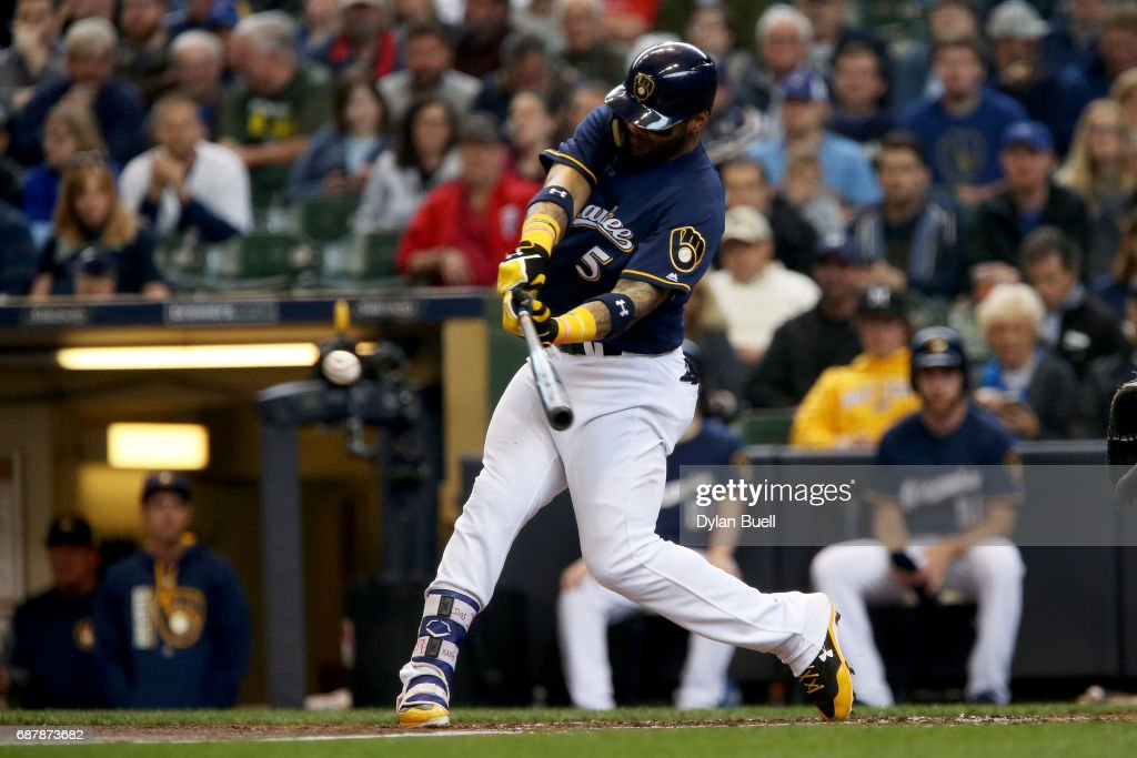 Jonathan Villar #5 of the Milwaukee Brewers hits a single in the third inning against the Toronto Blue Jays at Miller Park on May 24, 2017 in Milwaukee, Wisconsin.